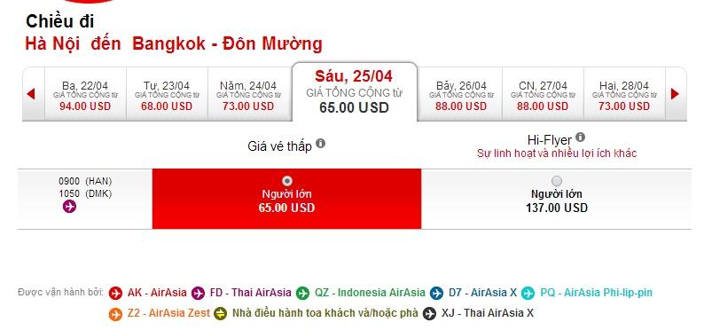 Air Asia đi Thái Lan