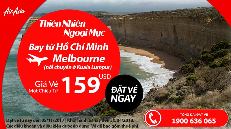 Air Asia ưu đãi vé đến Úc chỉ từ 159 USD siêu rẻ