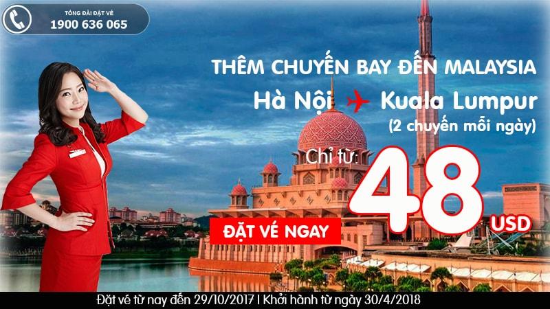 Air Asia vé từ 48 usd đến Kuala Lumpur từ Hà Nội