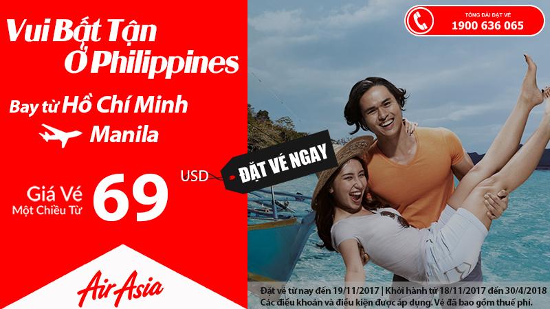 Air Asia KM vé đi Manila giá rẻ