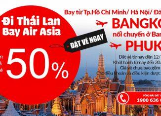 KM Air Asia hành trình bay Bangkok giảm đến 50% siêu rẻ