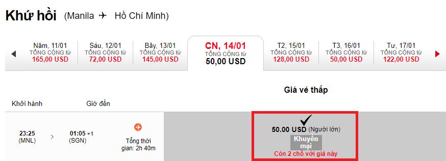 Hành trình  Manila - Hồ Chí Minh chỉ từ 50 USD