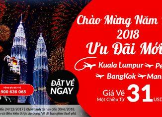 Air Asia khuyến mại vé máy vay đi châu Á chỉ từ 31 USD