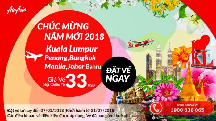 Air Asia khuyến mại giá vé máy bay chỉ từ 33 USD