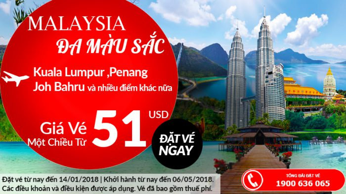 Air Asia khuyến mại giá vé chỉ từ 51 USD