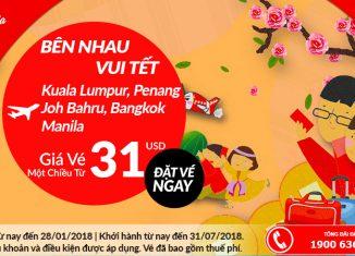 Air Asia khuyến mại giá vé chỉ từ 31 USD