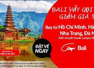 Air Aisa giảm 50 giá vé đến Bali