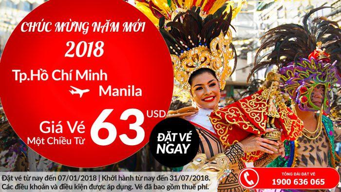 Air Asia khuyến mại đi Manila chỉ từ 63 USD/chiều