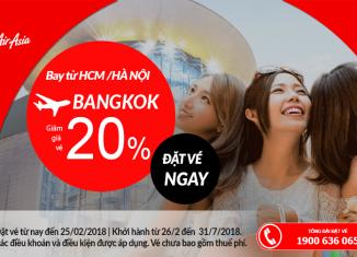 Air Asia giảm 20% giá vé đi Thái Lan