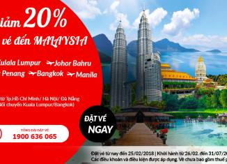 Air Asia giảm 20% giá vé đi Malaysia