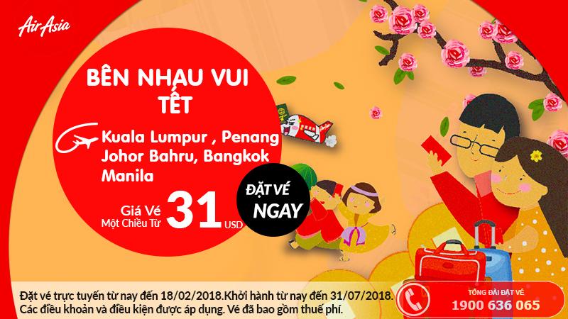 Air Asia khuyến mại vé máy bay đến châu Á chỉ từ 31 USD