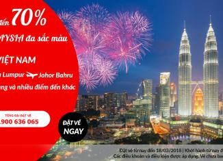 Air Aisa giảm 70% giá vé đến Malaysia
