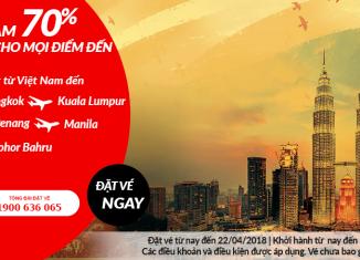 Air Asia giảm giá vé đến 70%
