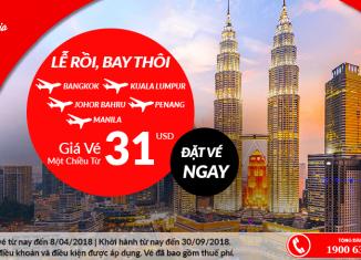 Đặt vé Air Asia từ 31 USD/chiều