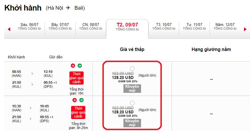 Mẫu giá vé KM của Air Asia