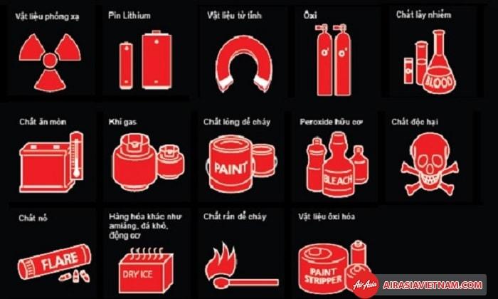 Không được phép mang theo chất hóa học và chất độc hại