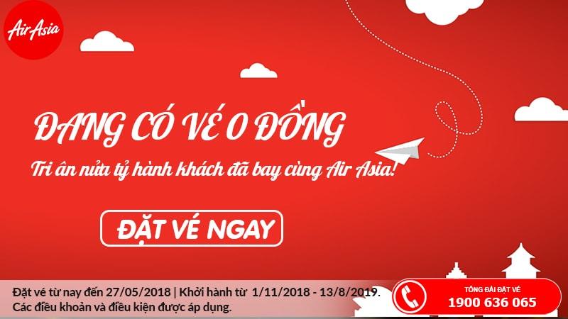 Đặt vé Air Asia 0 đồng