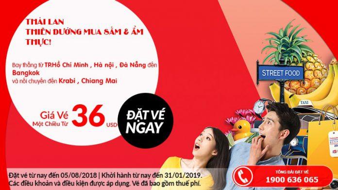 Air Asia mở bán vé máy bay đi Thái Lan du lịch