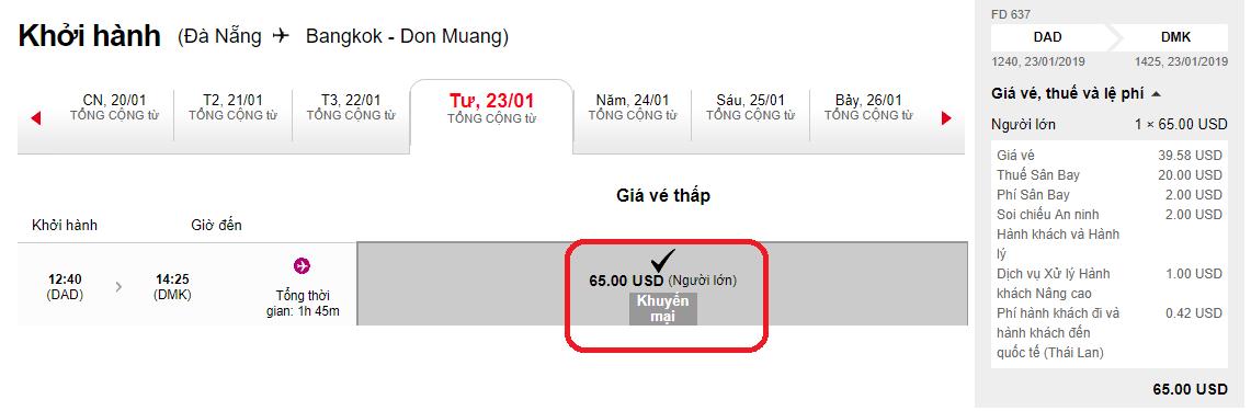 Giá vé hành trình Đà Nẵng đi Bangkok khuyến mại