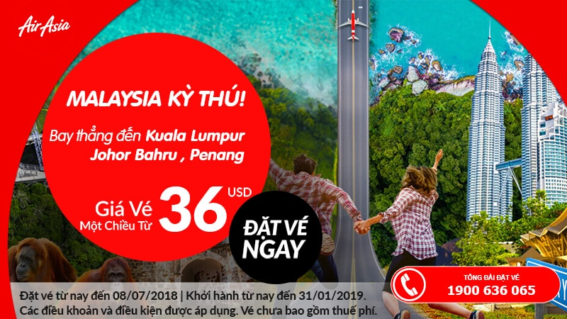 Air Asia khuyến mại vé máy bay đi Malaysia