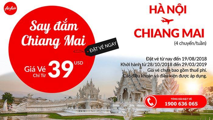 Chỉ với 39 USD giá vé 1 chiều bay thẳng từ Hà Nội đến Chiang Mai